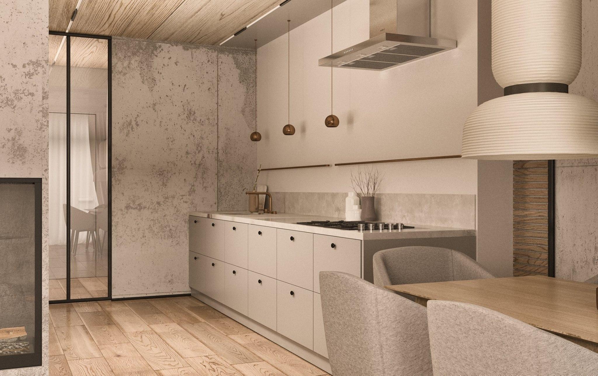 Drzwi _wiatrołap_ i Miedziane rurki (w kuchni nad blatem jako dekorancja)